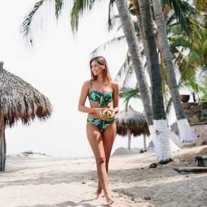 Vacay Light Lift Bikini Bow Top - Palm print R55UL
